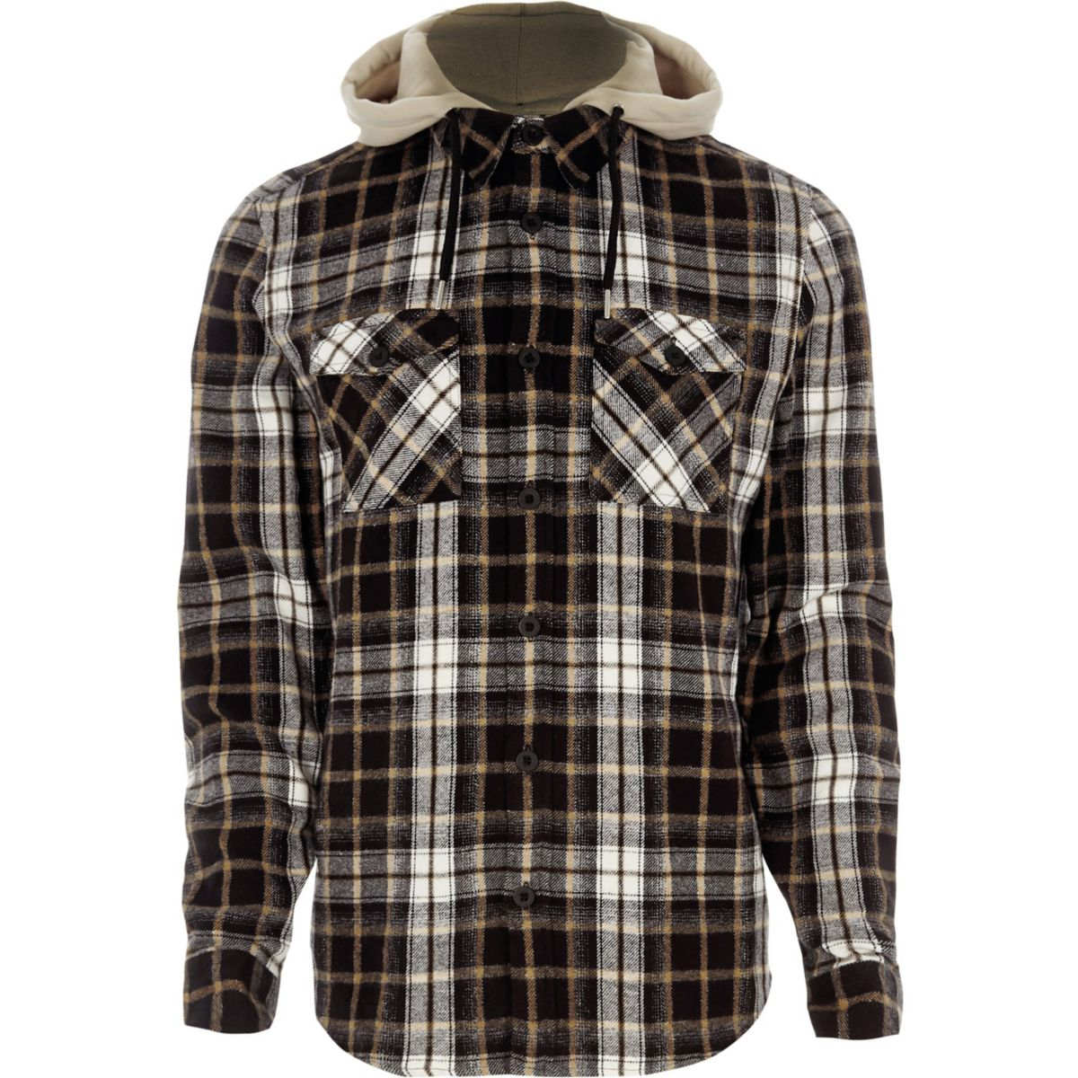 Grey detachable hood check shirt