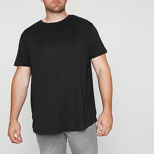 Big and Tall black curved hem T-shirt