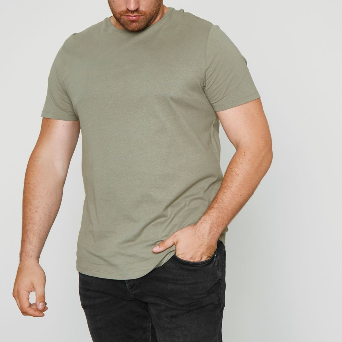 Big and Tall green curved hem T-shirt