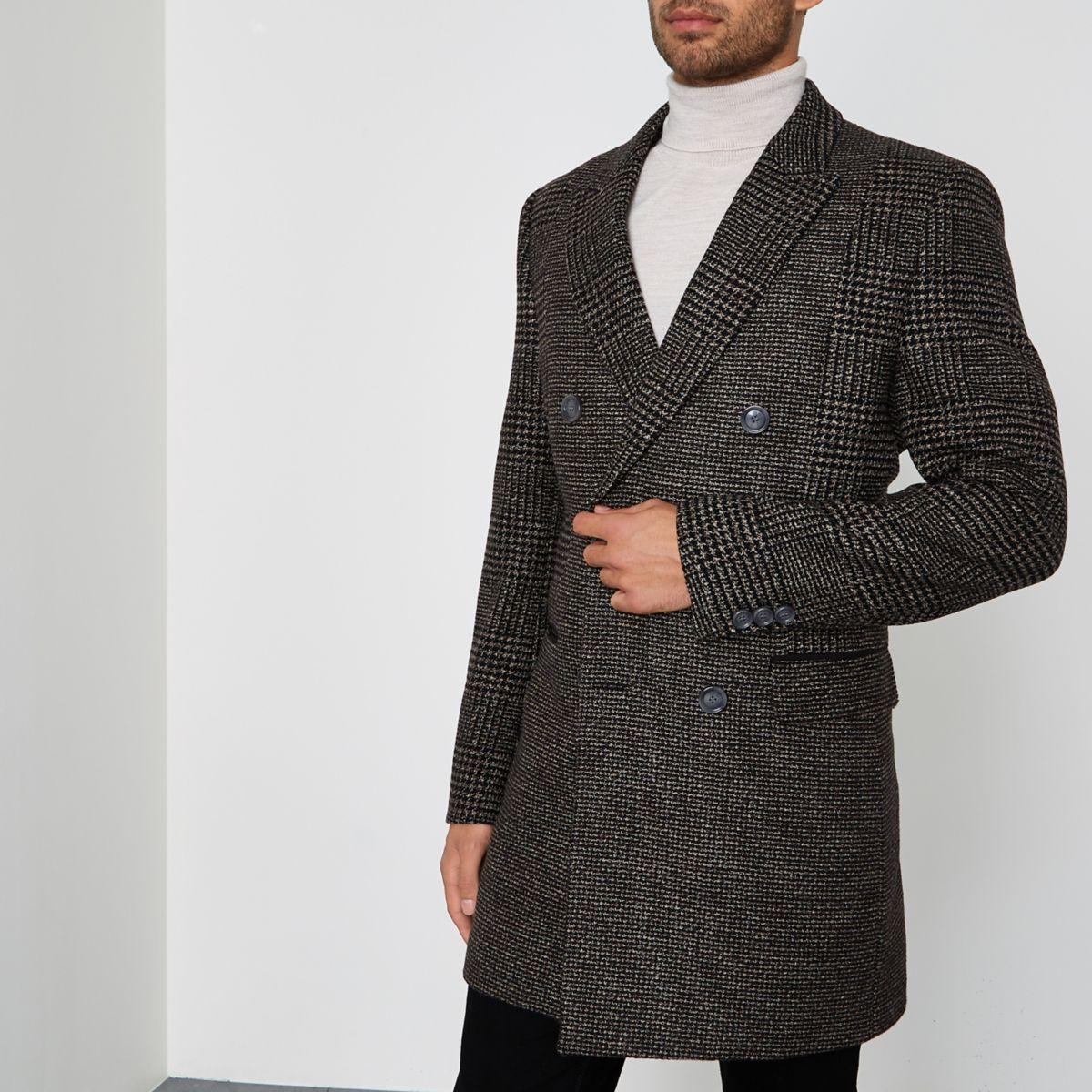 Dark brown check smart coat