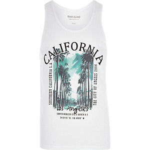 White 'California' palm tree print vest