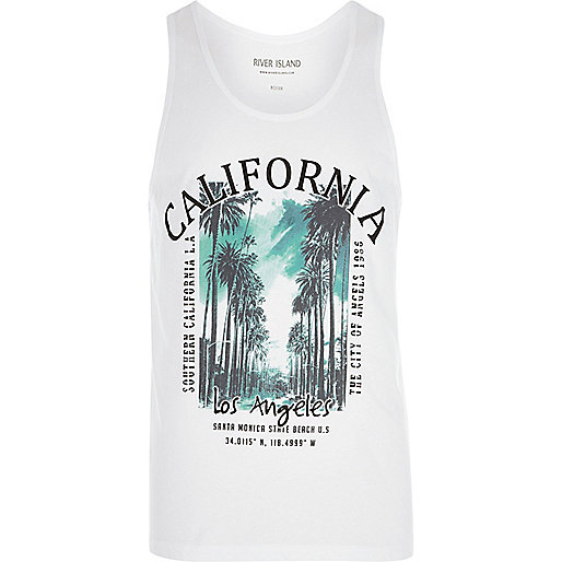 White 'California' palm tree print tank