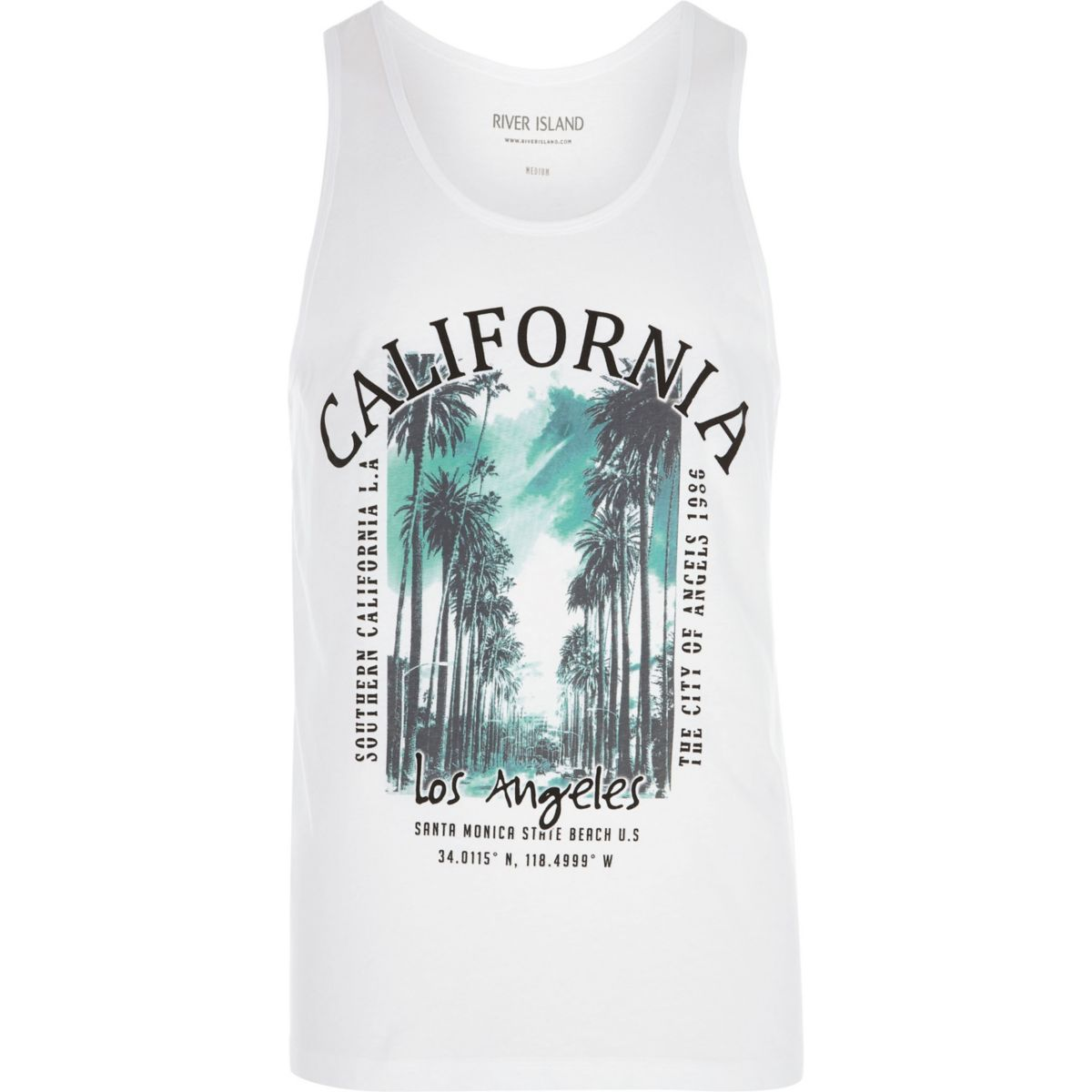 White 'California' palm tree print tank