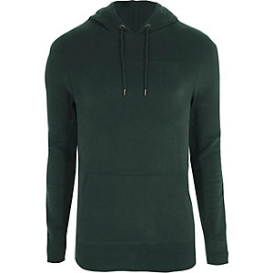 Dark green muscle fit hoodie
