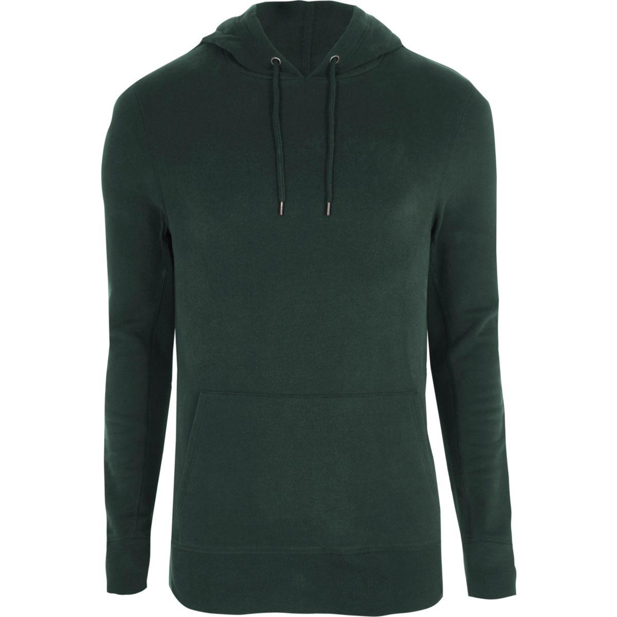 Dark green muscle fit hoodie