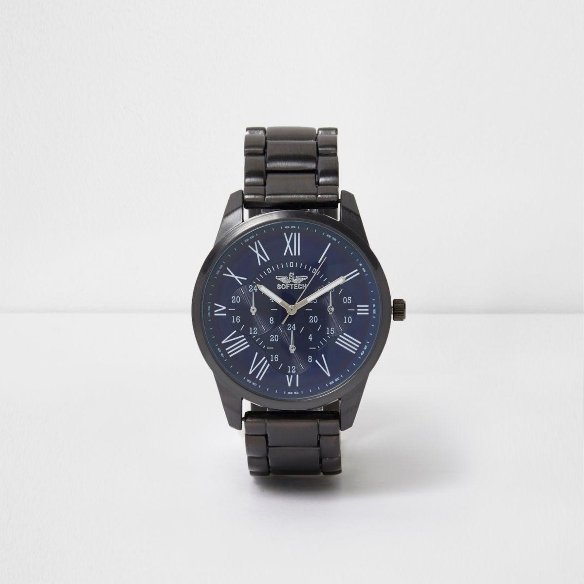 Blue round face metal watch