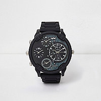 Dark grey rubber strap multiple dials watch