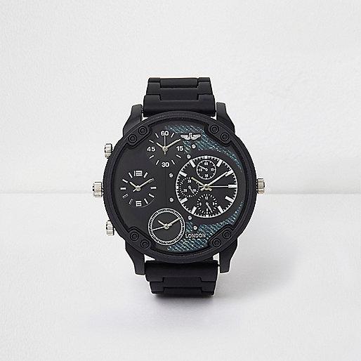 Dark grey rubber strap multiple dials watch