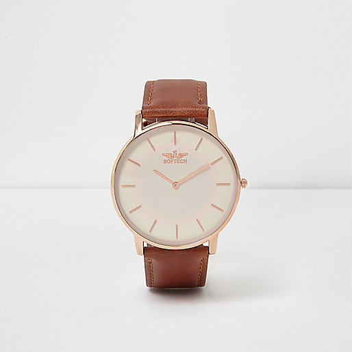 Tan strap rose gold tone round face watch