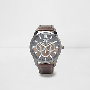 Brown split dial round face watch