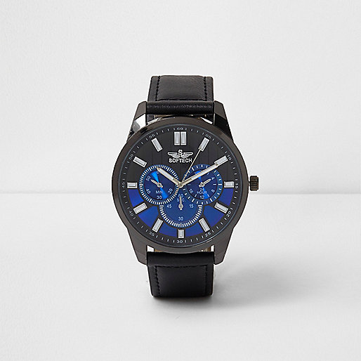 Black and blue round face watch