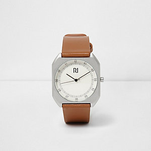 Tan brown strap silver case watch