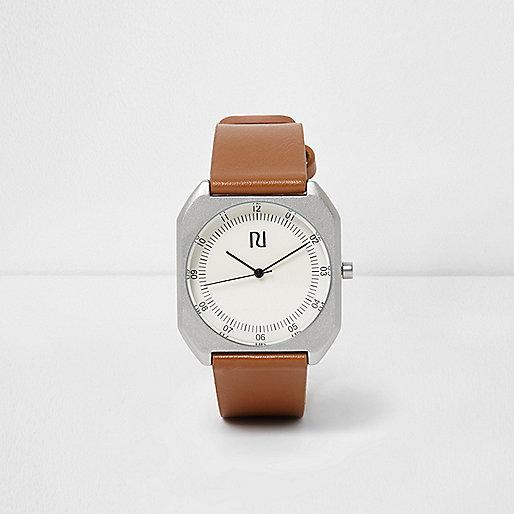 Tan brown strap silver case watch