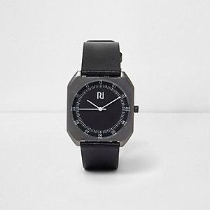 Schwarze Armbanduhr mit rechteckigem Gehäuse