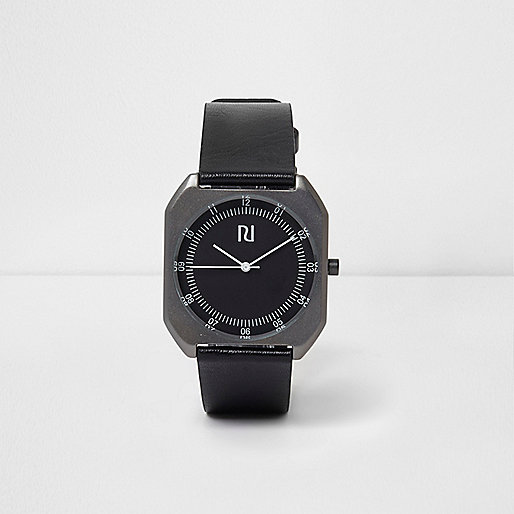 Black strap square case watch