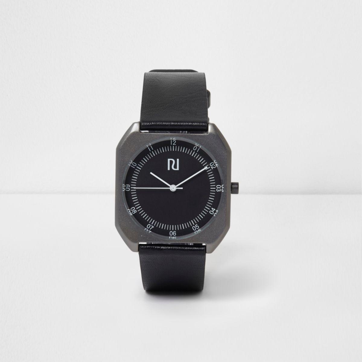 Black strap square case watch