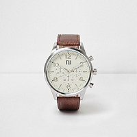 Tan strap round cream face watch