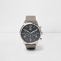 Grey strap black round face watch