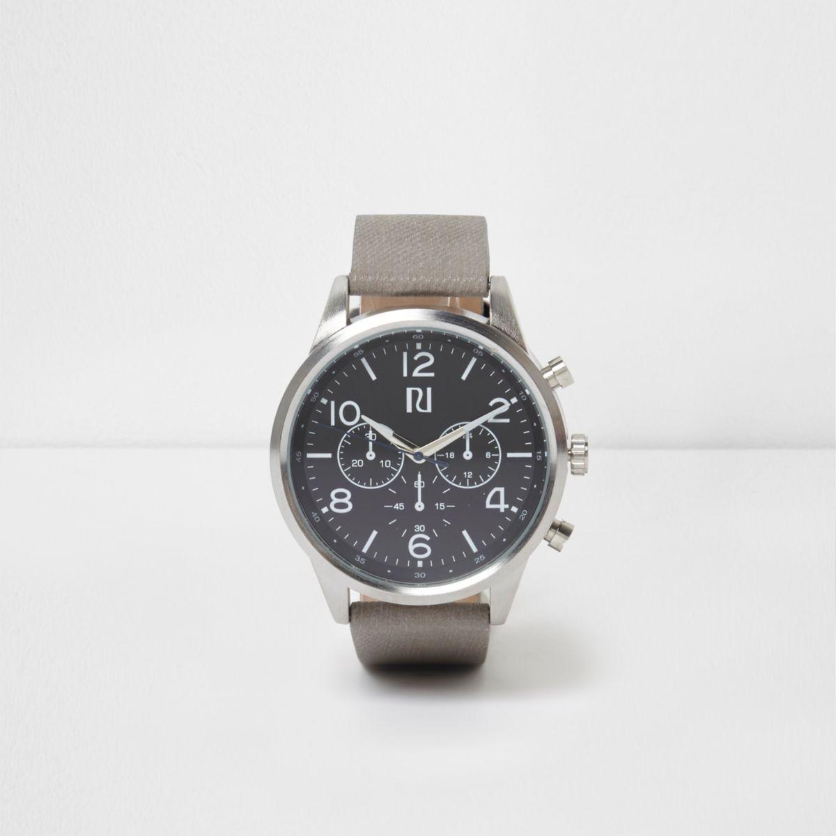 Grey strap black round face watch