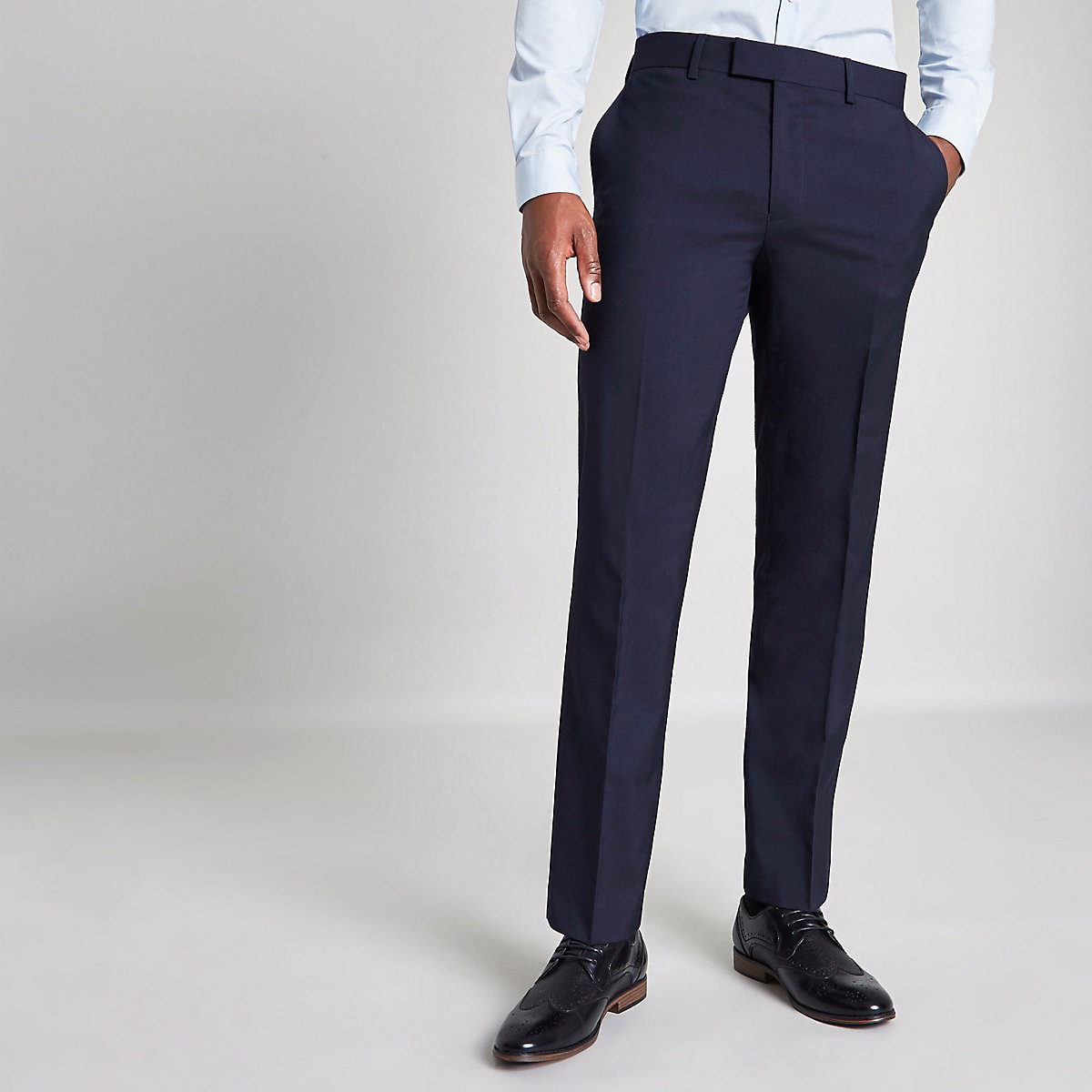 Navy tailored fit skinny fit trousers