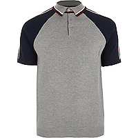 Grey block sleeve slim fit polo shirt