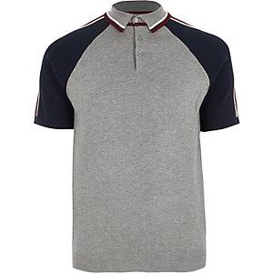 Polo slim gris à manches colour block