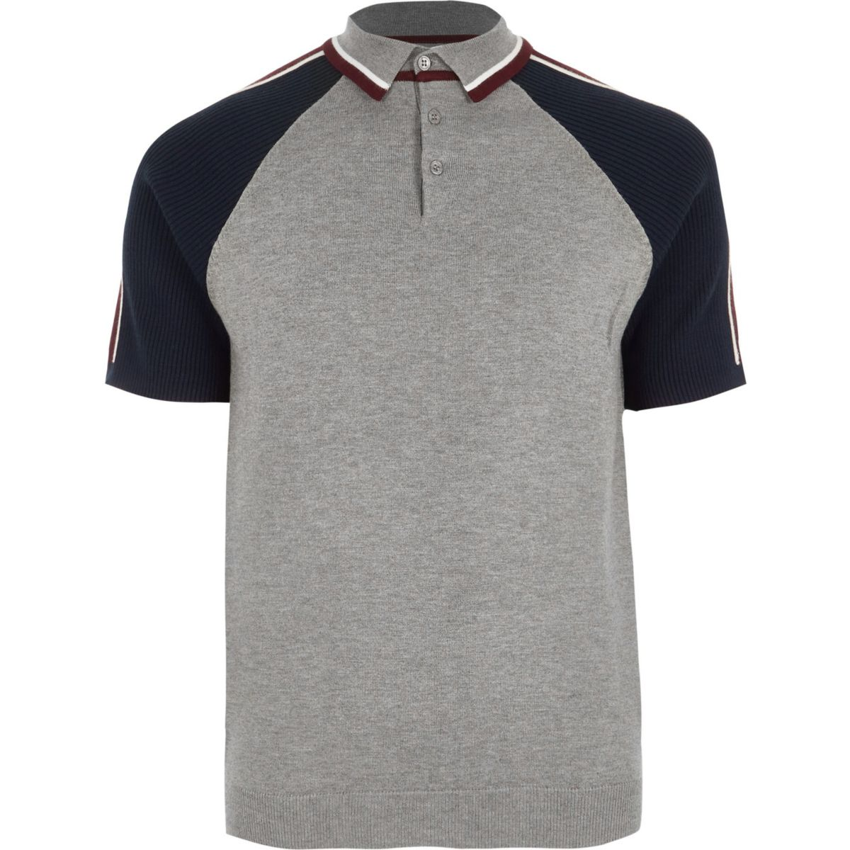Grey block sleeve slim fit polo shirt