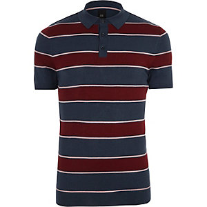 Navy and red stripe slim fit polo shirt