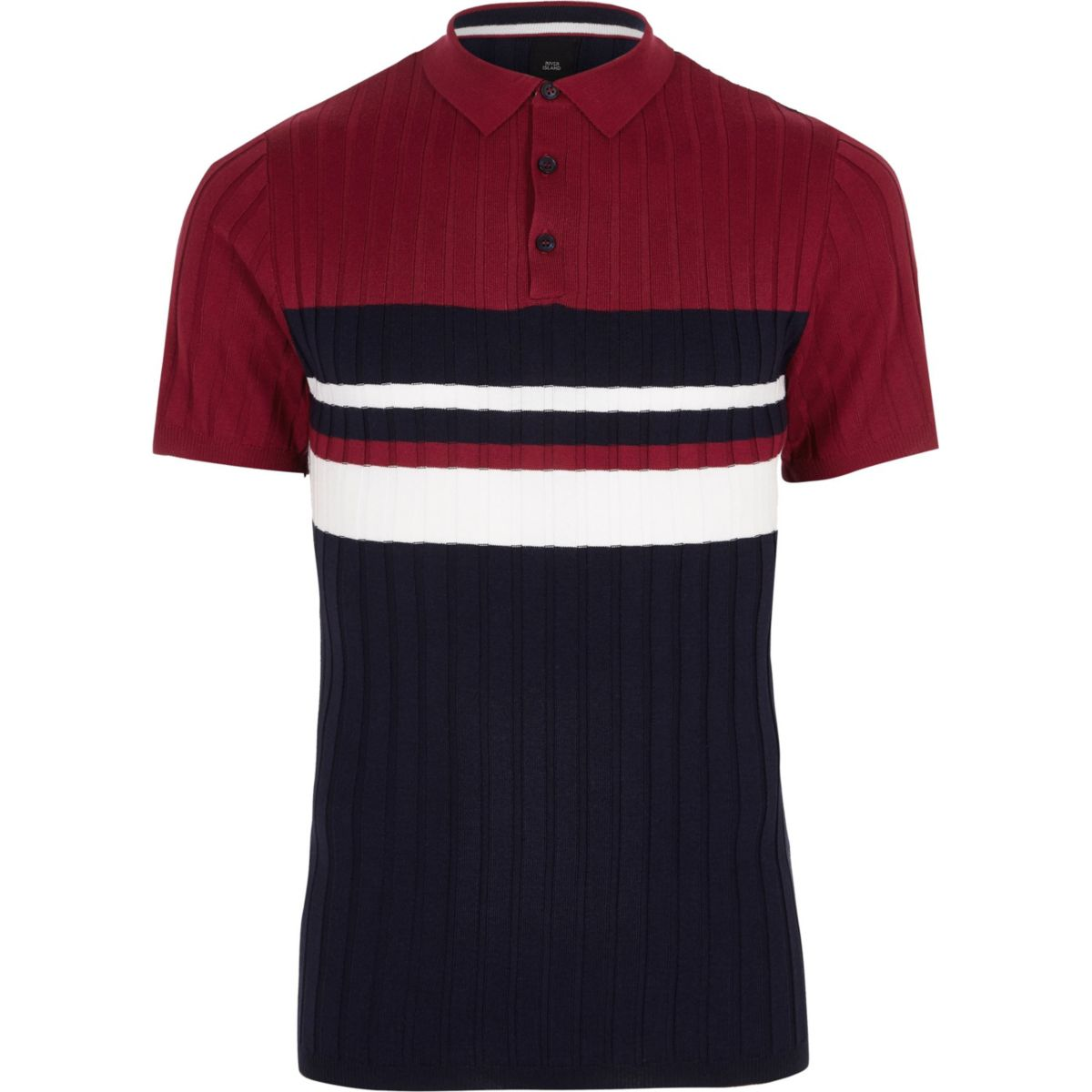 Navy block stripe muscle fit polo shirt