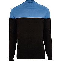 Blauer Slim Fit Pullover mit Rollkragen