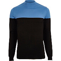 Blue block color turtle neck slim fit sweater