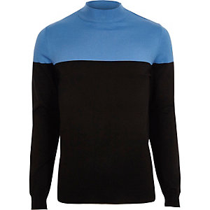Zwarte slim-fit pullover met kleurvlakken en col
