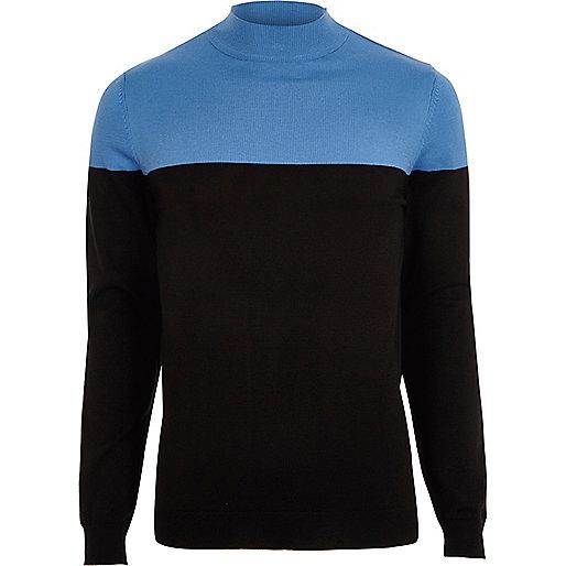 Blue block colour turtle neck slim fit jumper