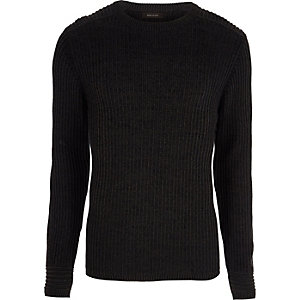 Dark grey muscle fit ribbed jumper