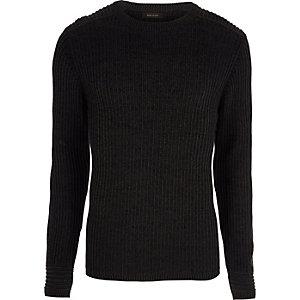 Donkergrijze geribbelde aansluitende pullover