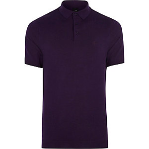 Slim Fit Polohemd in Lila