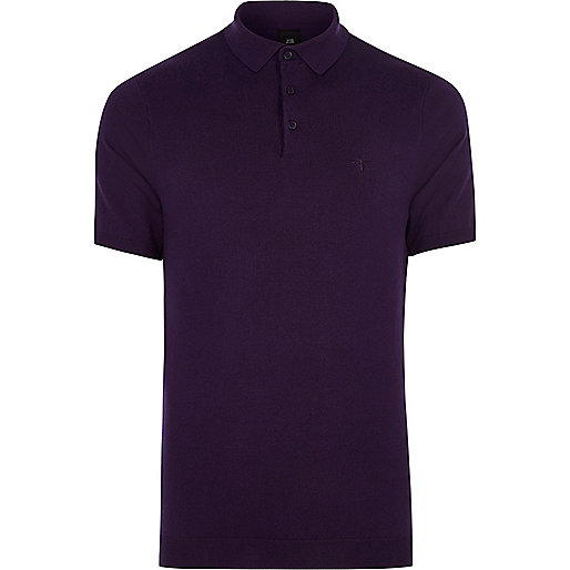 Purple slim fit polo shirt