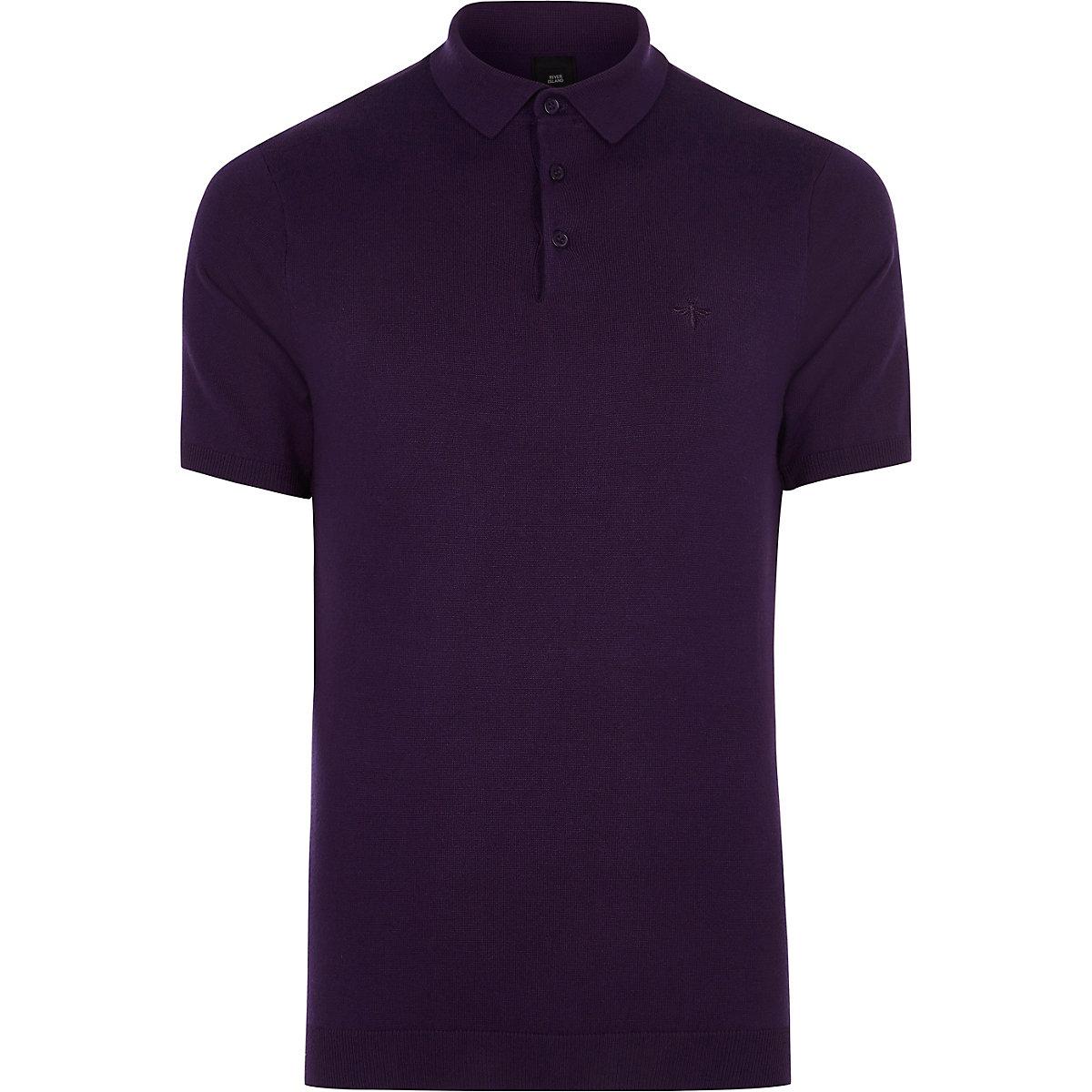 Purple slim fit polo shirt