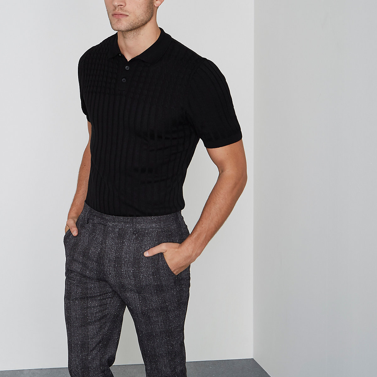 Black cable knit muscle fit polo shirt