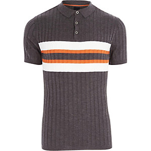 Dark grey blocked rib knit polo shirt