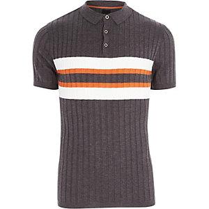 Dark grey blocked rib knit polo shirt
