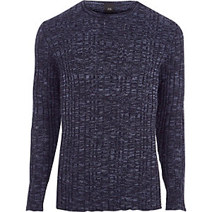 Navy rib knit muscle fit crew neck sweater