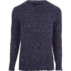 Marineblauwe geribbelde skinny-fit pullover