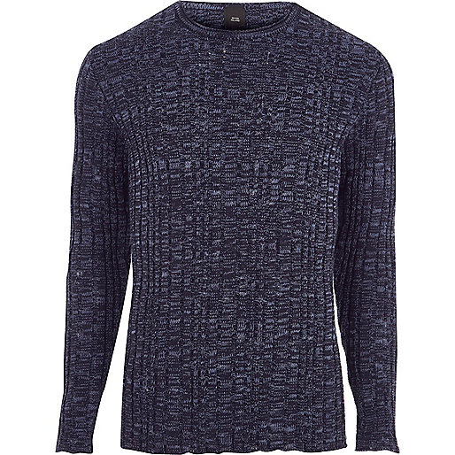 Navy rib knit muscle fit crew neck jumper