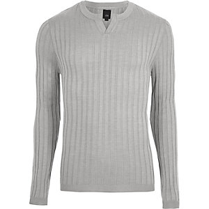 Grey ribbed notch neck long sleeve sweater