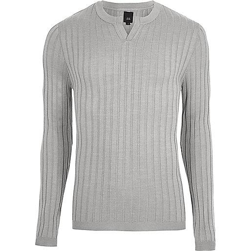 Grey ribbed notch neck long sleeve sweater