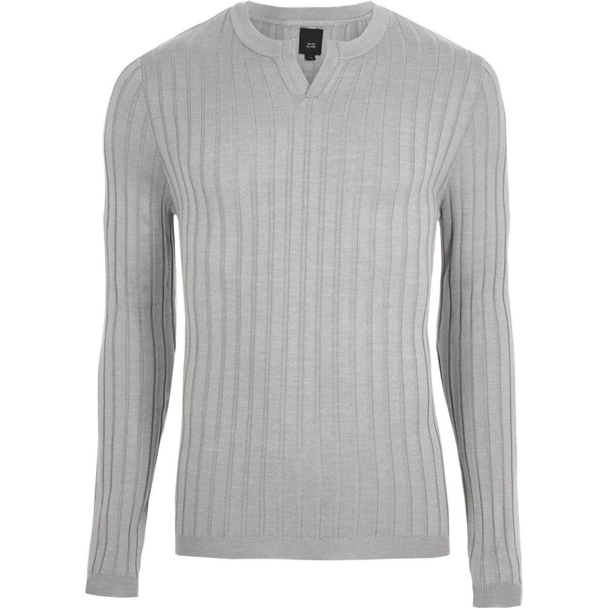 Grey ribbed notch neck long sleeve jumper