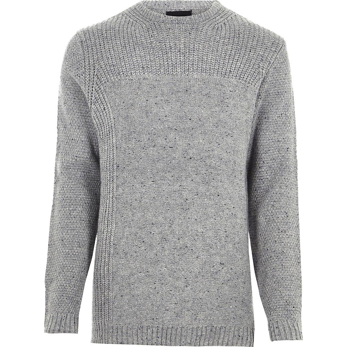 Grey mixed texture knit crew neck jumper