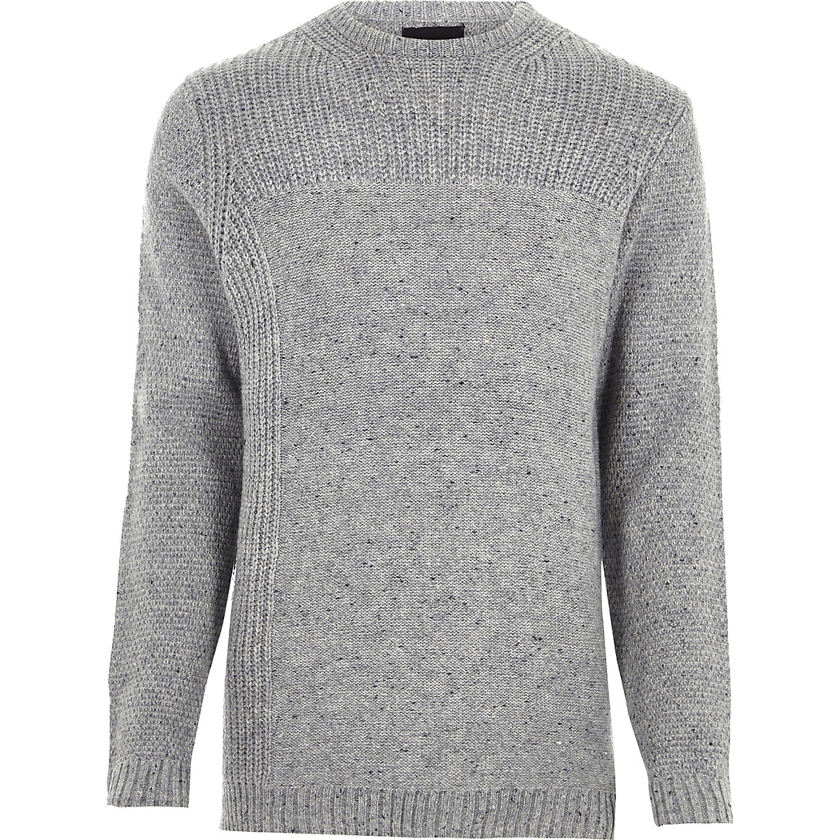 Grey mixed texture knit crew neck sweater