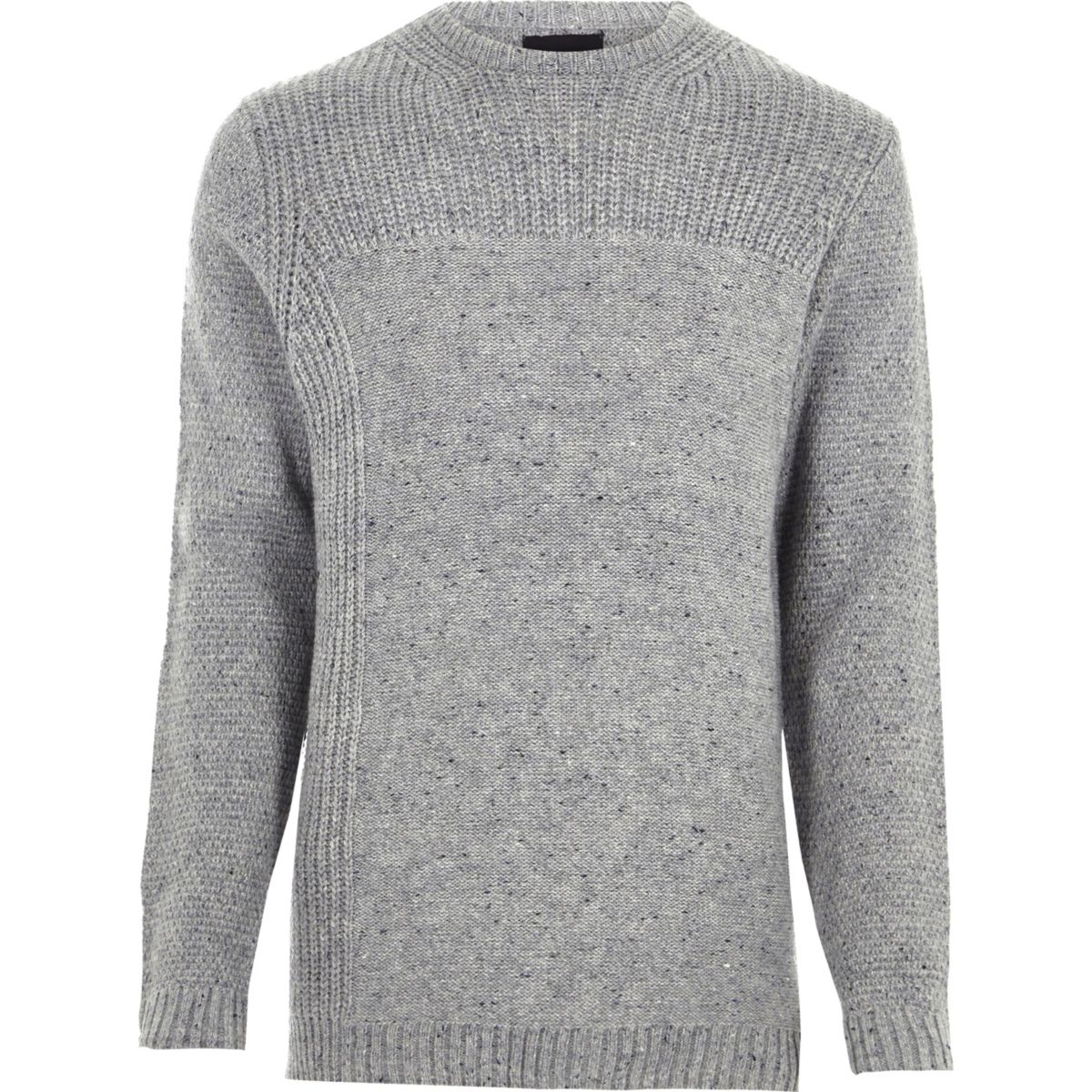 Grey mixed texture knit crew neck jumper